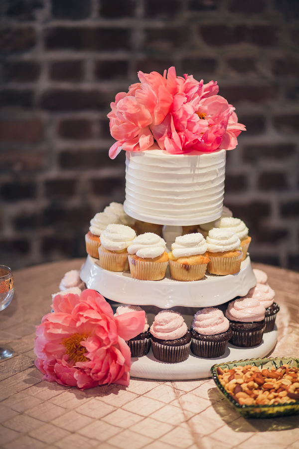 Wedding cake and cupcakes by Wildflour Pastry