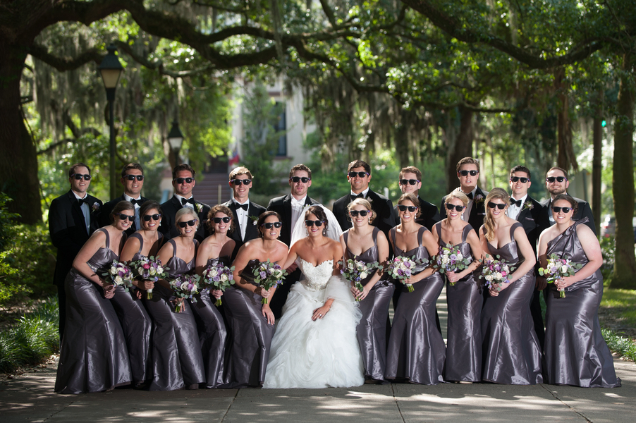 Bridal Party Picture - Bridesmaids in long, grey dresses from Bleu Belle Bridal