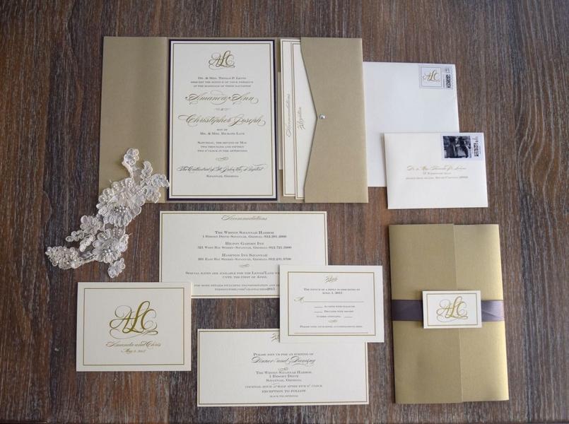 Elegant Gold and grey wedding invitations