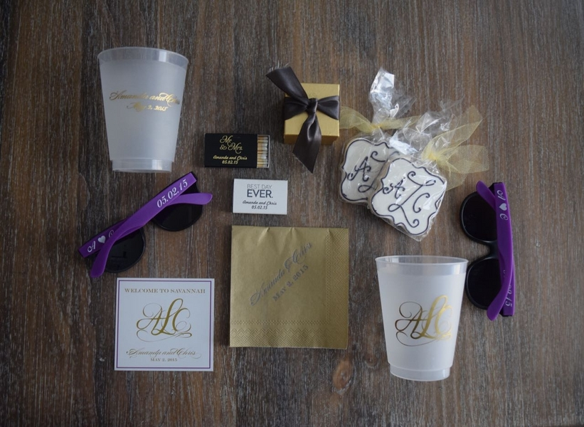 Custom wedding welcome bags with sunglasses, cookies and cups