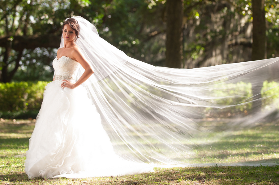 Amsale wedding gown with long flowing veil