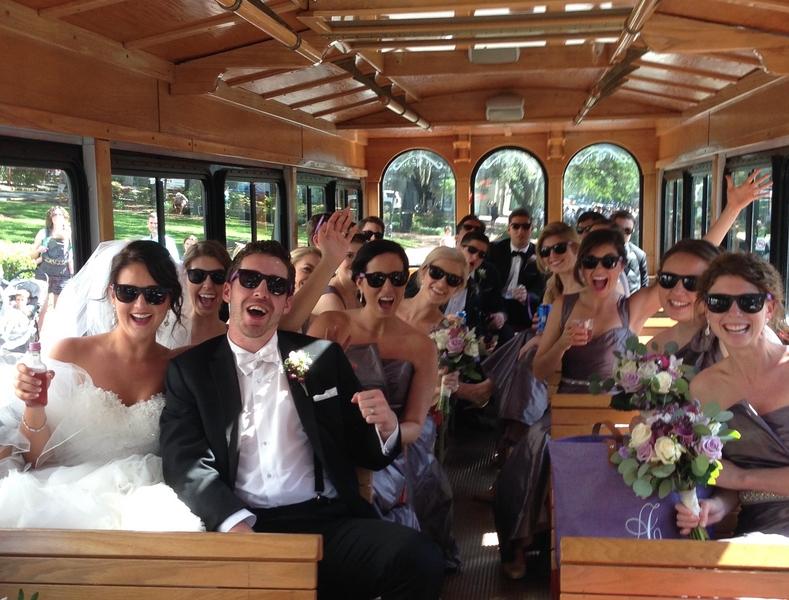 Savannah Bridal party on a trolley ride