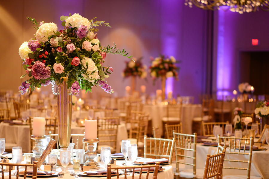 Gold, purple and lavender wedding decor by Harvey Designs