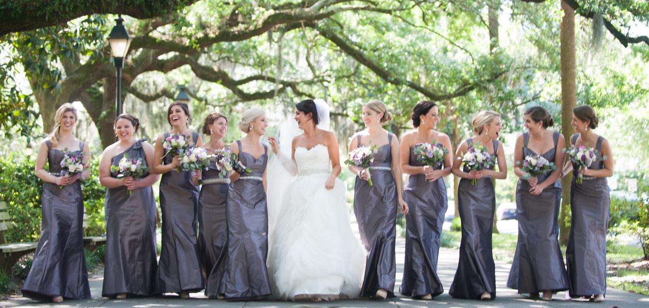Long grey bridesmaids dresses from Bleu Belle Bridal