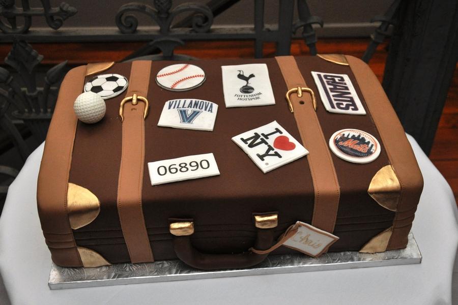 Suitcase groom's cake by Minette Rushing Custom Cakes