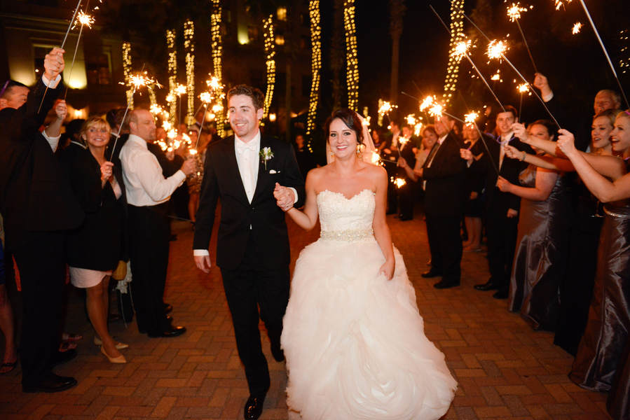 Sparkler wedding departure