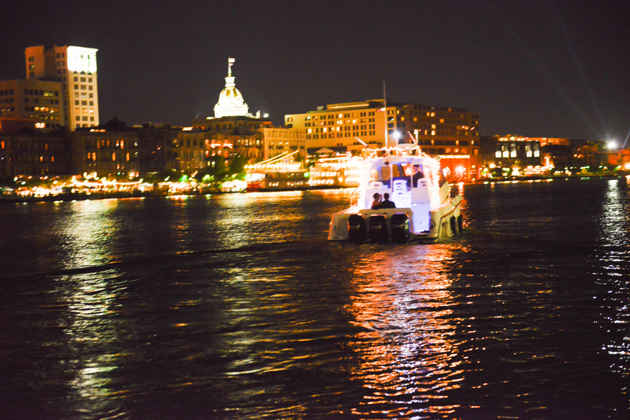 Just Married boat ride in Savannah River