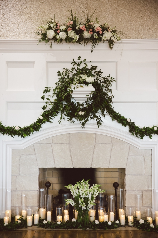 Greenery wreath and candle decor