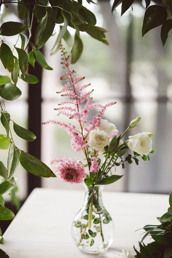 Pink astilbe and white lisianthus bud vases from Loluma