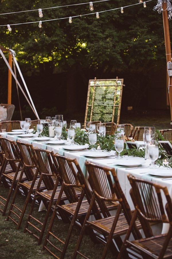 Open air reception at Governor Thomas Bennett House wedding