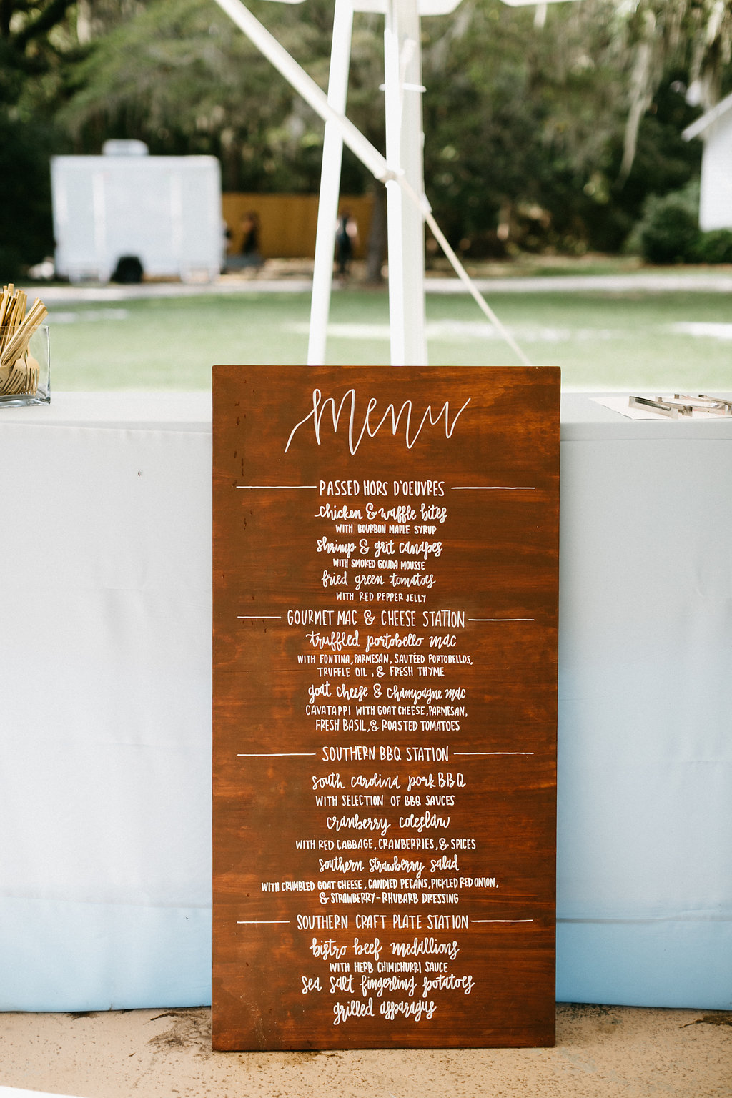 Wingate Plantation wedding on Johns Island l hand lettered menus l Pure Luxe Bride