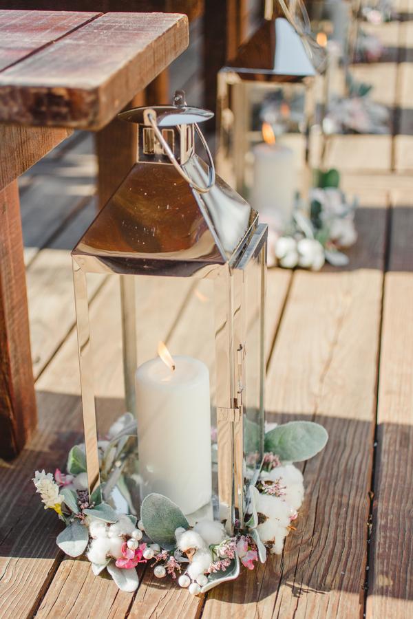 Silver aisle lanterns at Charleston wedding