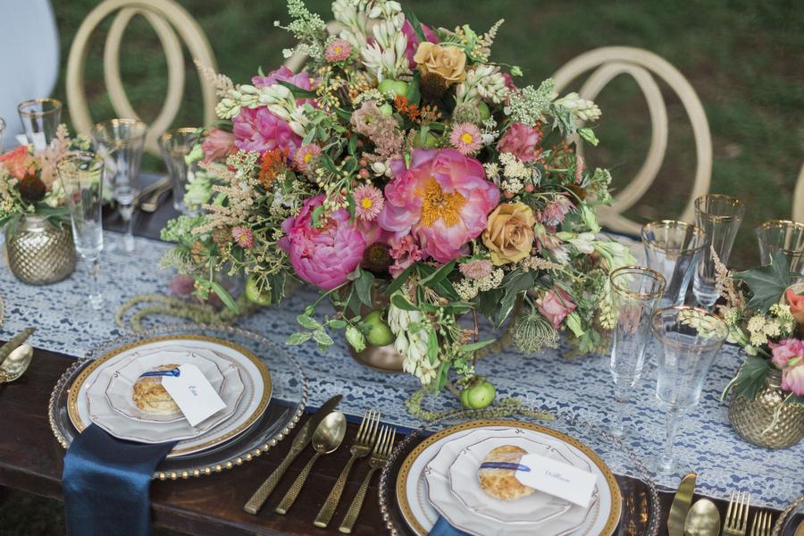 Glamorous McLeod Plantation wedding centerpieces from Wildflowers Inc. in Charleston, SC