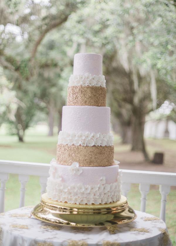 Glamorous McLeod Plantation wedding cake by Cakes by Kasarda