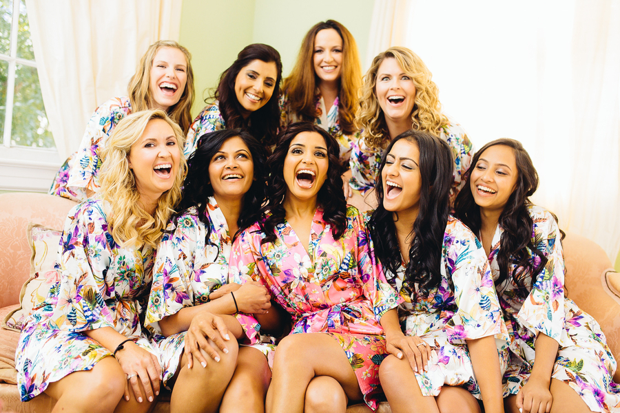 Silk, patterned Bridesmaids Robes