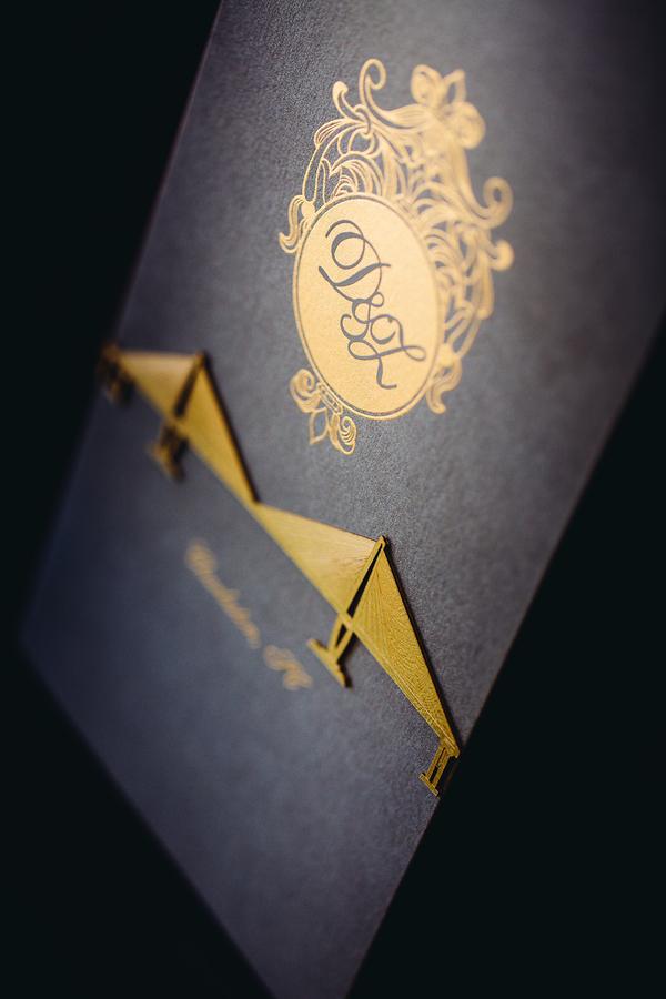 Gold foiled wedding invitations
