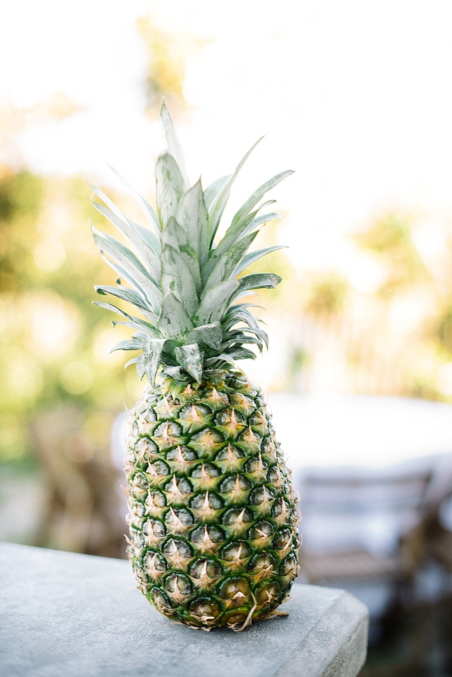 PIneapple decor at Folly Beach wedding by Peper Events
