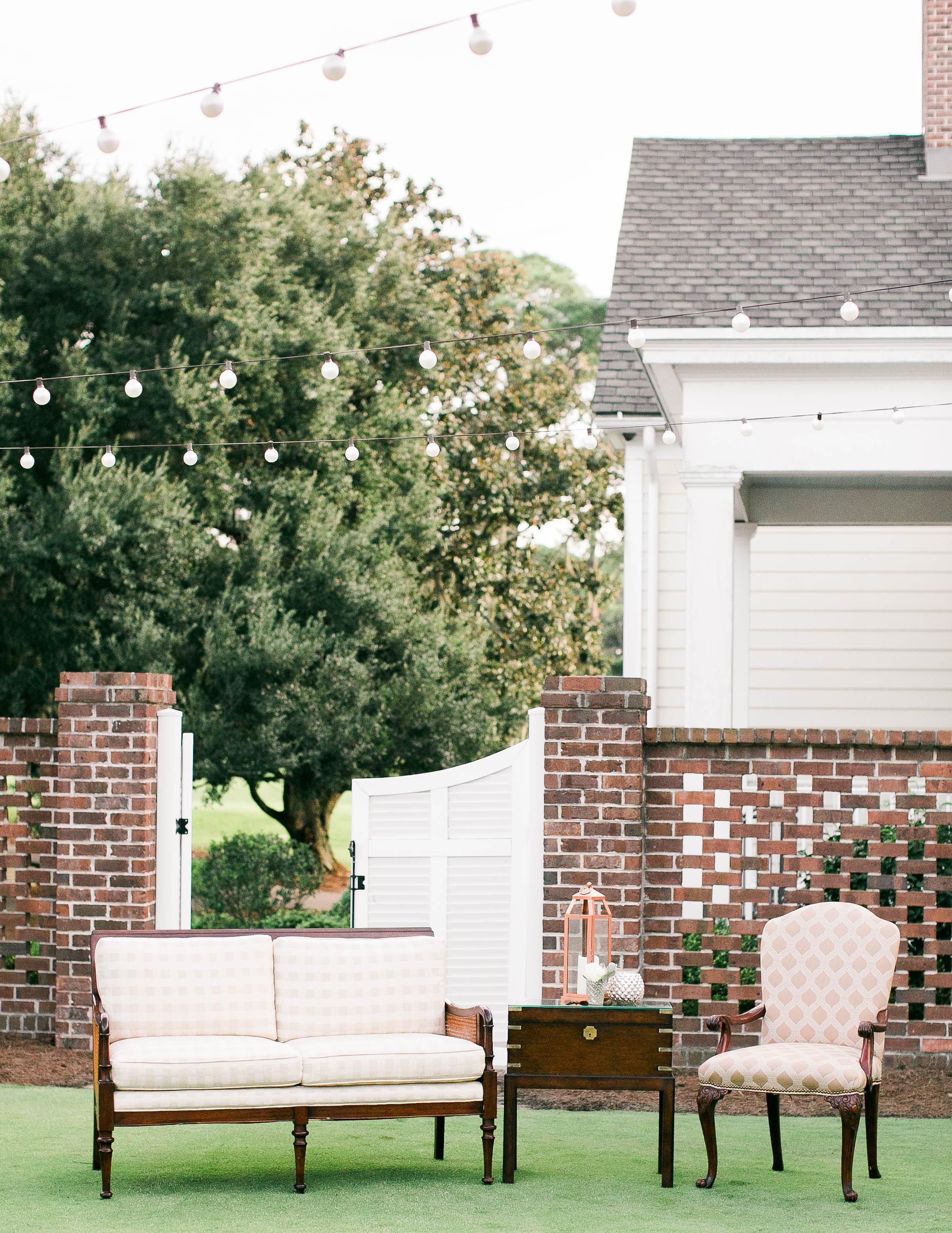 Outdoor lounge furniture at Savannah Golf Club wedding