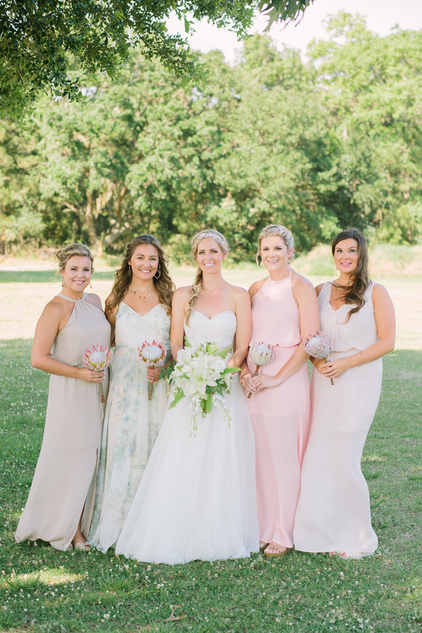 Pink bridesmaids dresses at Summer wedding at The Island House