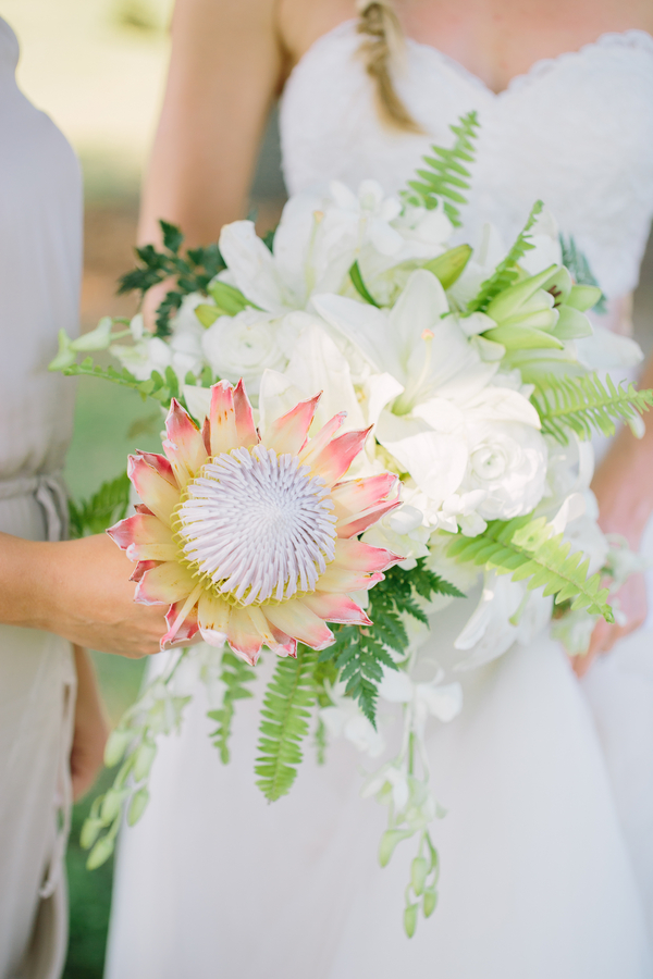 King Protea wedding bouquet at The Island House by Duvall Events