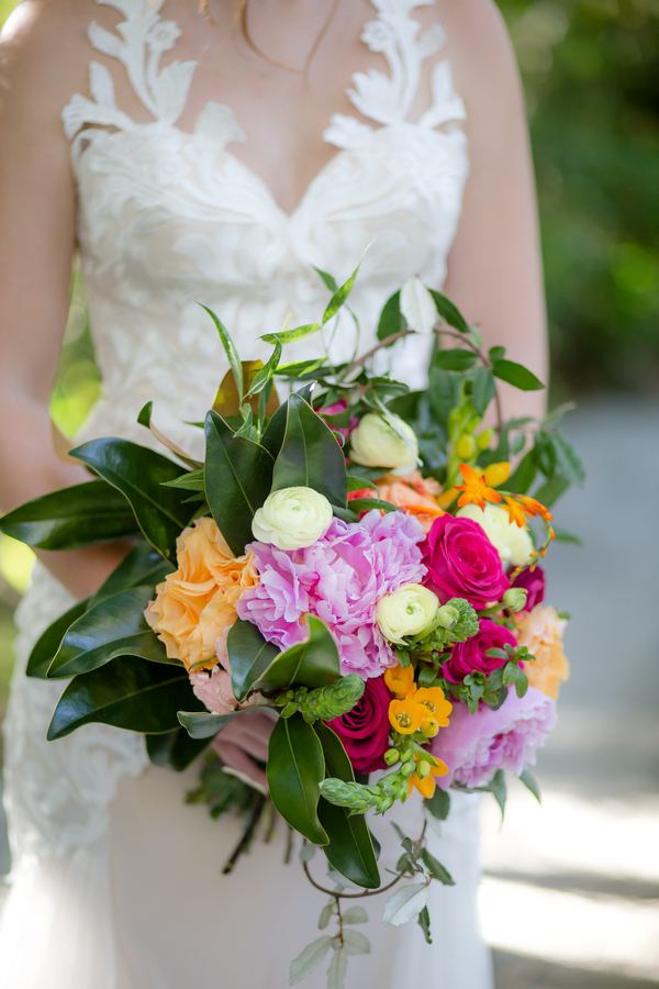 Colorful bouquet with pink peonies by Pretty Petals of Charleston