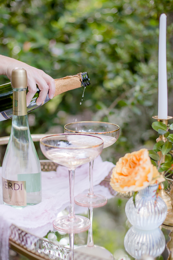 Champagne tower on a bar cart for a Charleston wedding