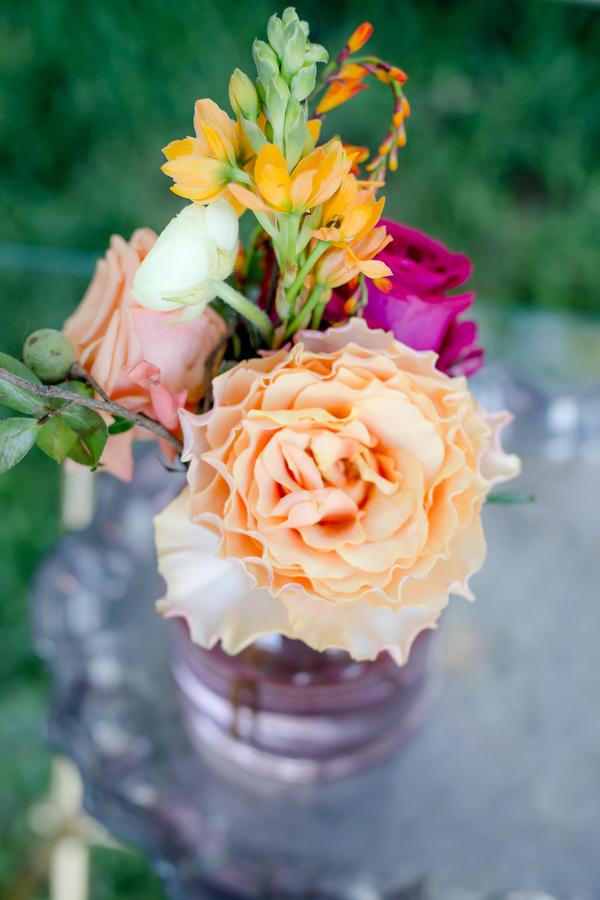 Colorful bud vases at Charleston wedding