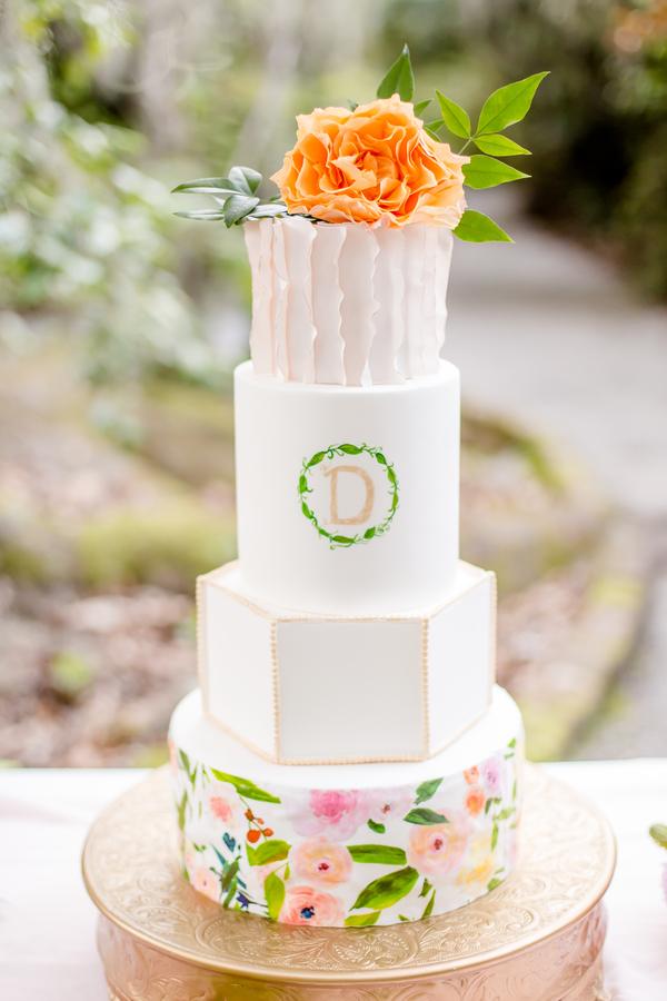 Monogramed Charleston wedding cake at Magnolia Plantation & Gardens