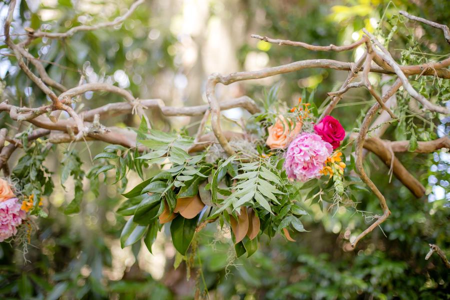 Colorful Magnolia Plantation and Gardens wedding decor