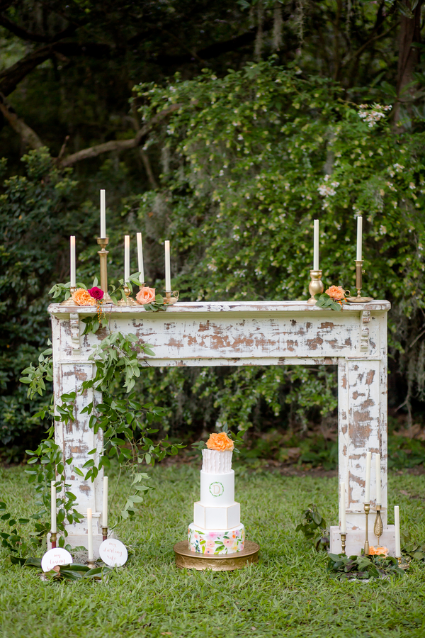 Vintage fireplace for Charleston wedding from 428 Main