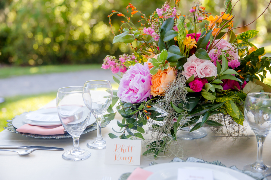Pink peony centerpieces by Pretty Petals of Charleston