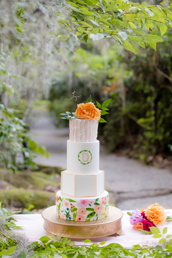 Colorful cake by Sweet Rhi at wedding in Charleston, SC