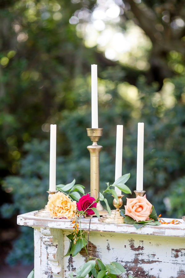 Colorful wedding inspiration with candles at Charleston wedding