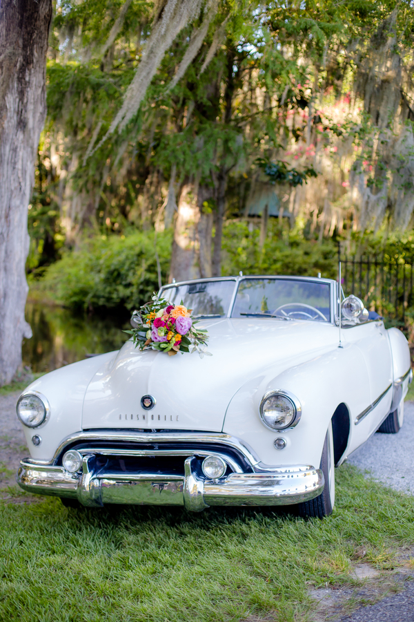 Lowcountry Valet & Shuttle Co. vintage car at Magnolia Plantation and Gardens