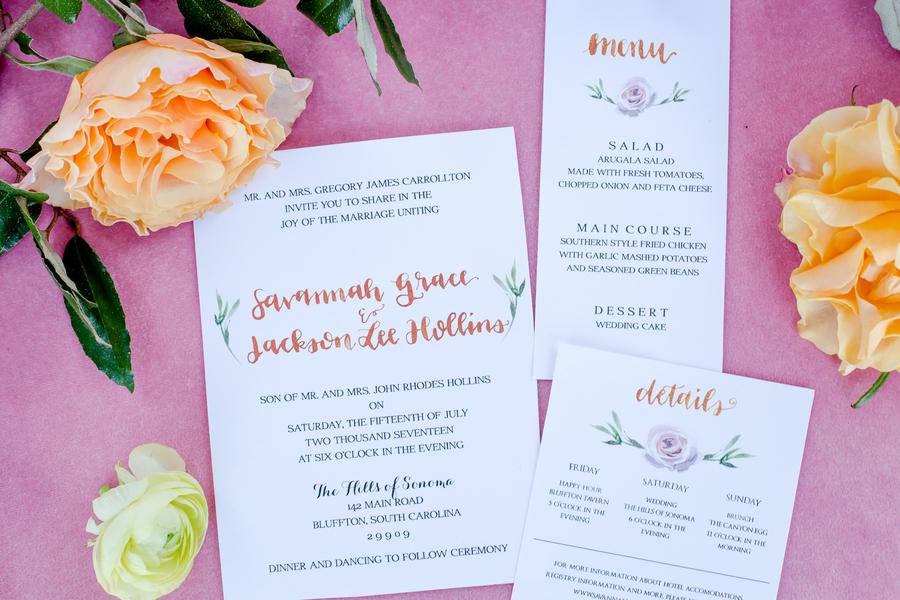Colorful wedding invitations in Charleston, South Carolina