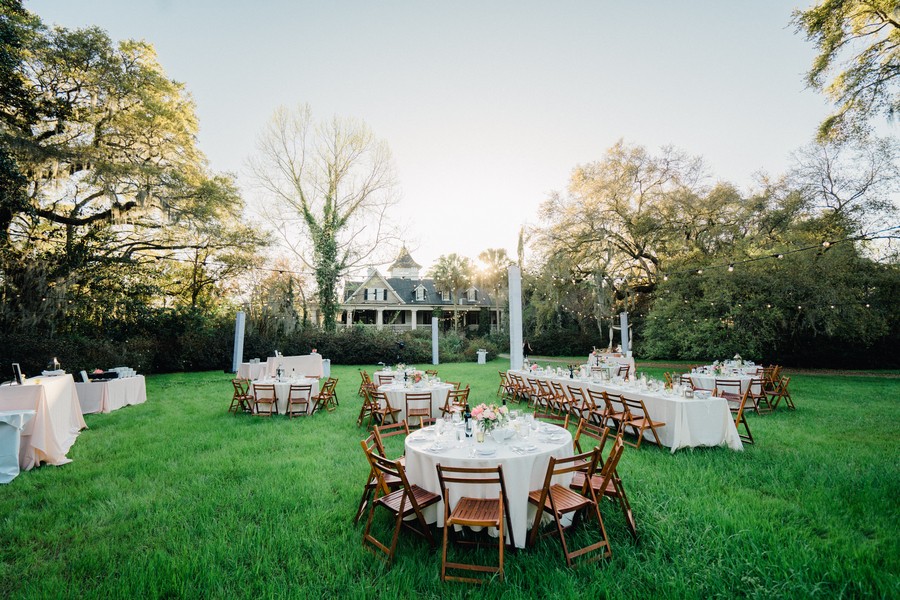 Outdoor reception on the back lawn at The Veranda House at Magnolia Plantation & Gardens  //  A Lowcountry Wedding Magazine & Blog