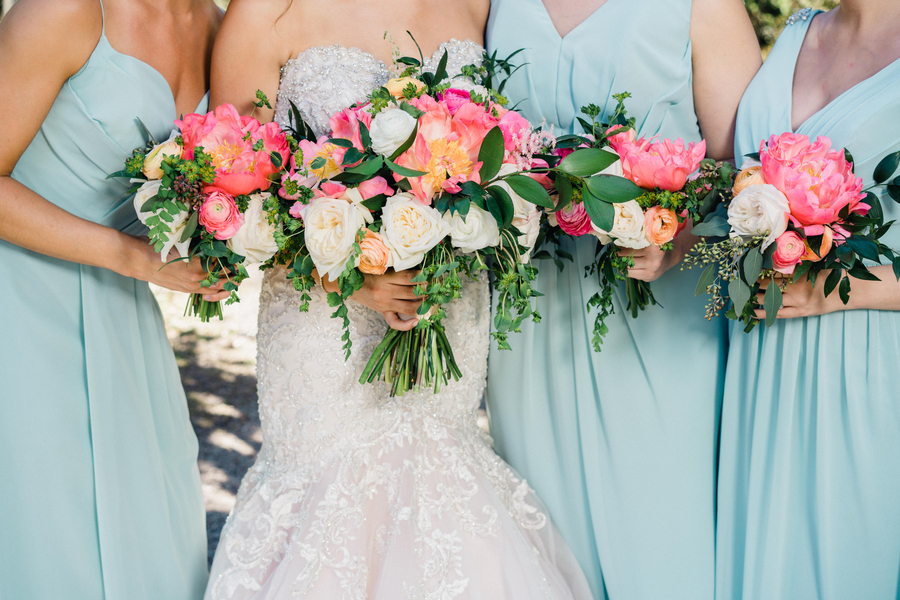 Pink peony bouquets from Duvall Events at Spring wedding in Charleston, SC