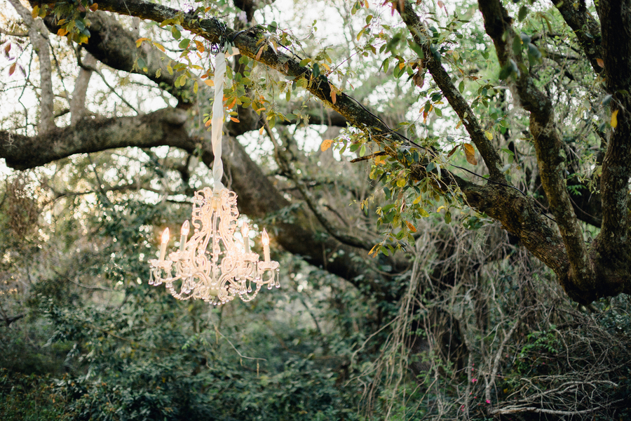 Chandeliers hung in the trees at Magnolia Plantation