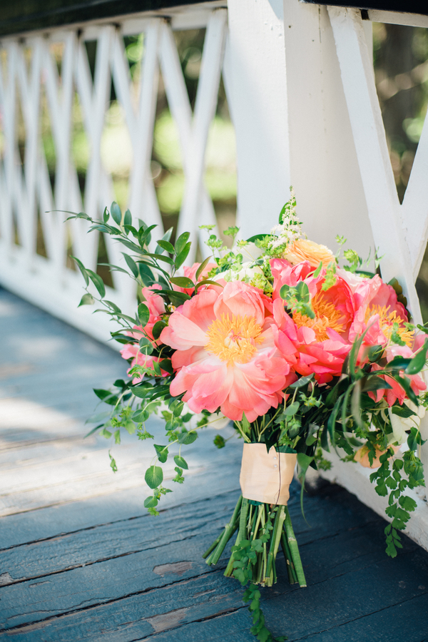 Bold Pink Peony bouquet by Duvall Events / Charleston wedding florist on A Lowcountry Wedding Magazine