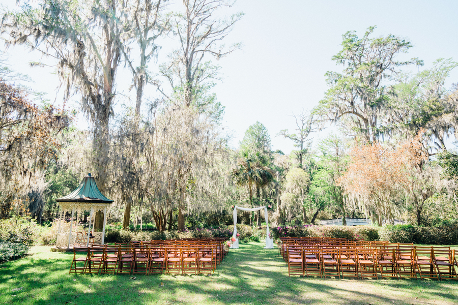 Outdoor ceremony in the garden by the gazebo at Magnolia Plantation  / Charleston wedding photos on A Lowcountry Wedding Magazine