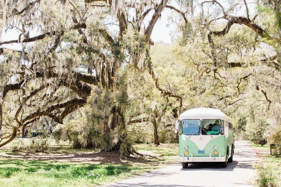 Lowcountry Valet & Shuttle Co. vintage mint green wedding bus in Charleston, SC // Charleston wedding photography on A Lowcountry Wedding Magazine