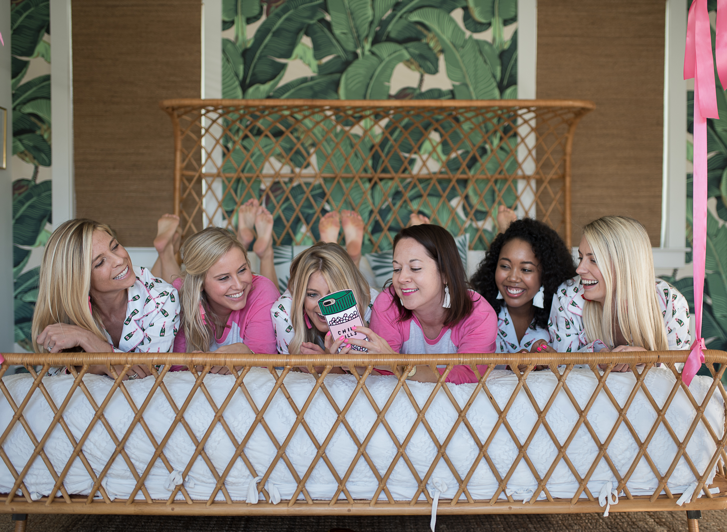 Girls slumber party with green palm leaf wallpaper  //  designed by Cayleigh Hopkins of The Petal Report  //  on A Lowcountry Wedding Magazine