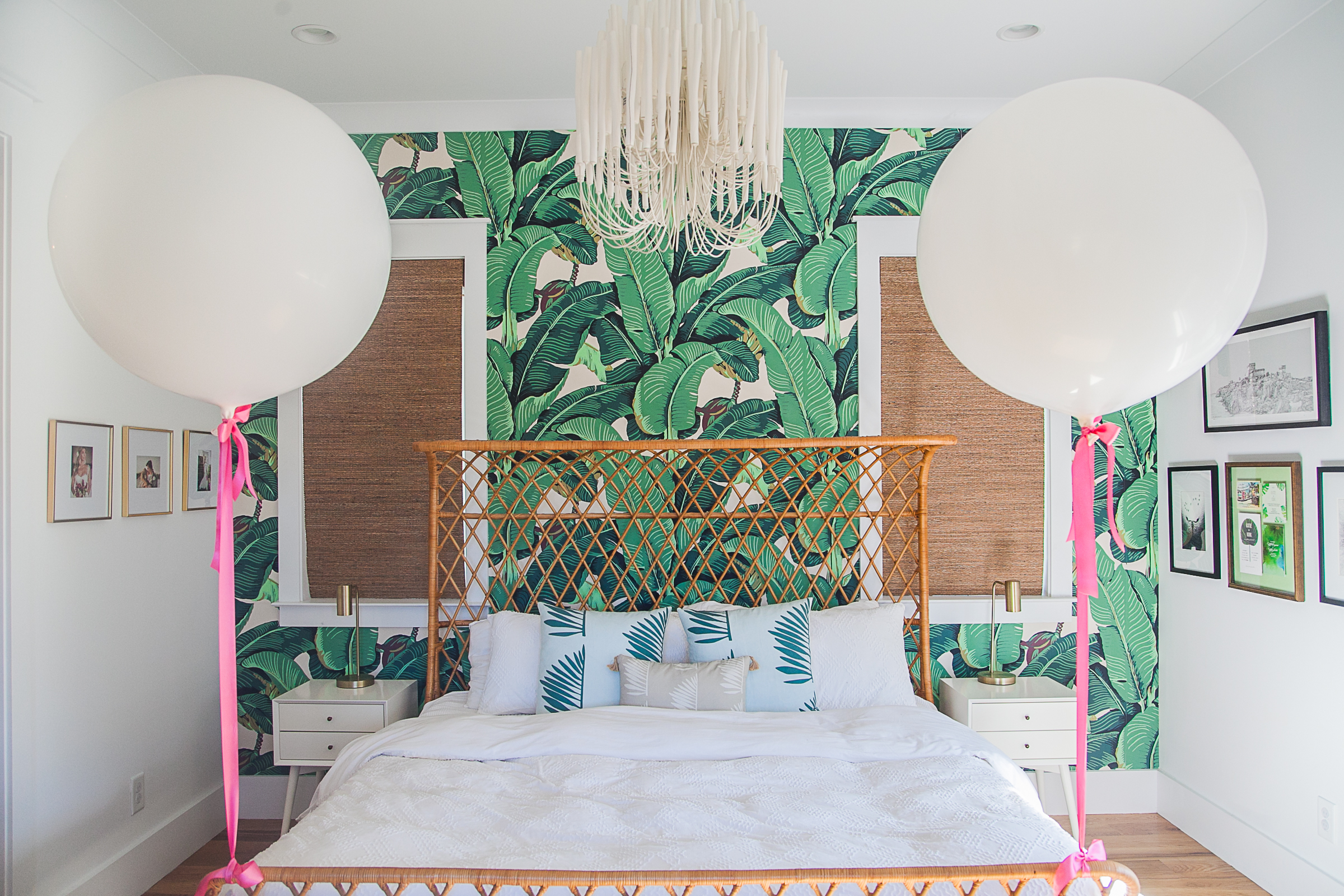Beachy bedroom with green palm leaf wallpaper  //  designed by Cayleigh Hopkins of The Petal Report  //  on A Lowcountry Wedding Magazine