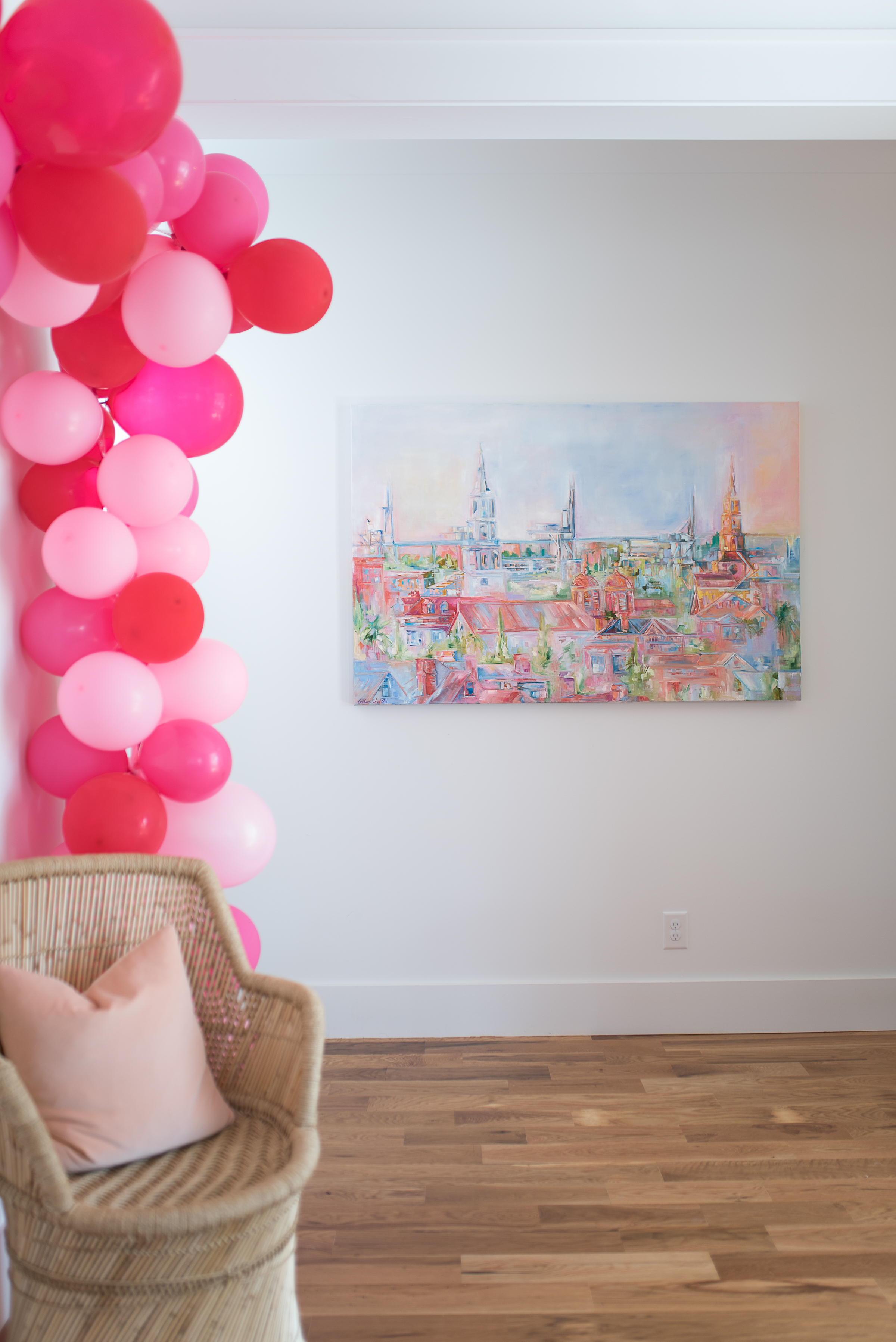 Pink and red balloon arch from The Cannonborough Collective //  designed by Cayleigh Hopkins of The Petal Report  //  on A Lowcountry Wedding Magazine