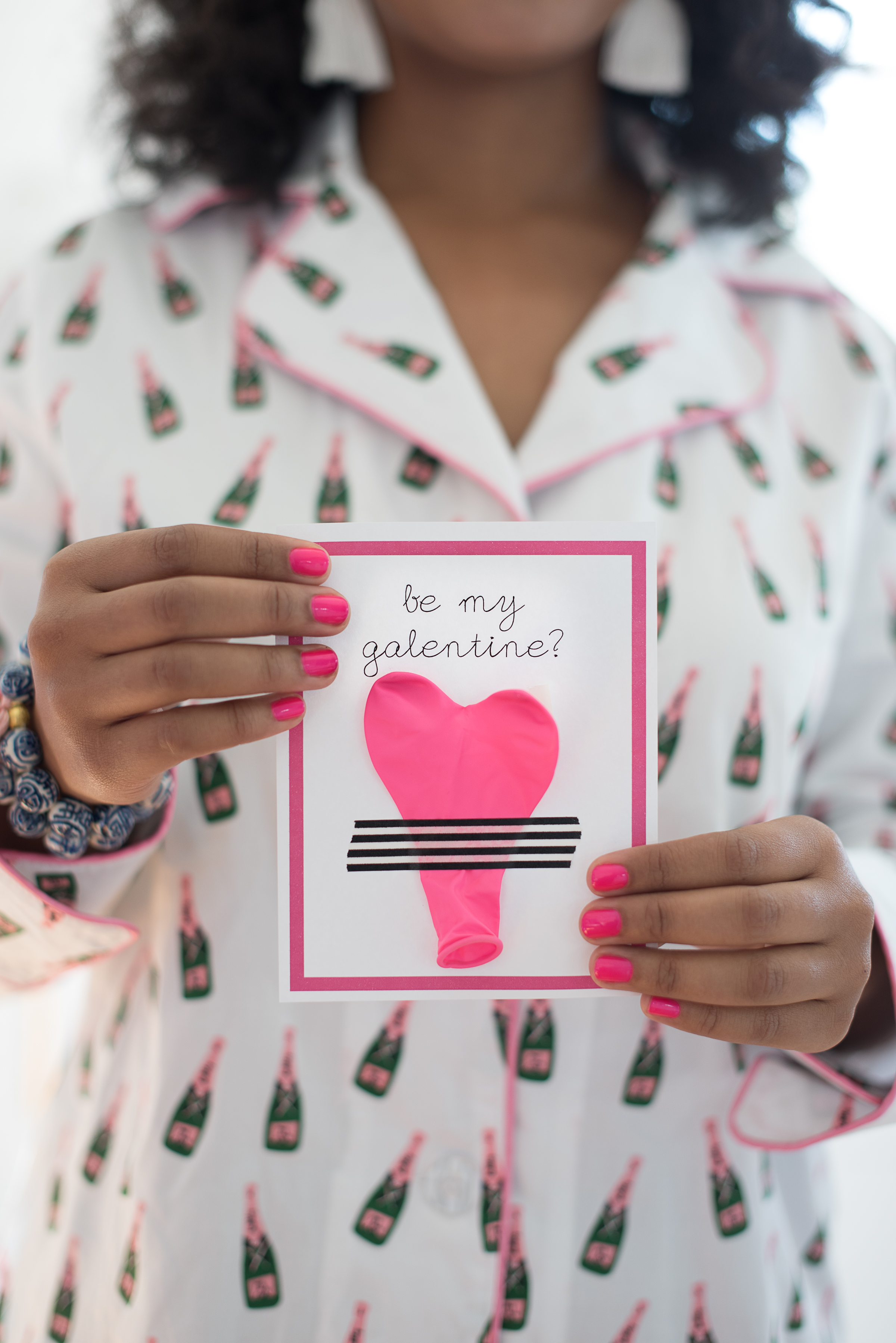 """Be My Galentine"" Cards with pink balloon heart and black and white stripped tape  //  Charleston photos by Aneris Photography //  on A Lowcountry Wedding Magazine"