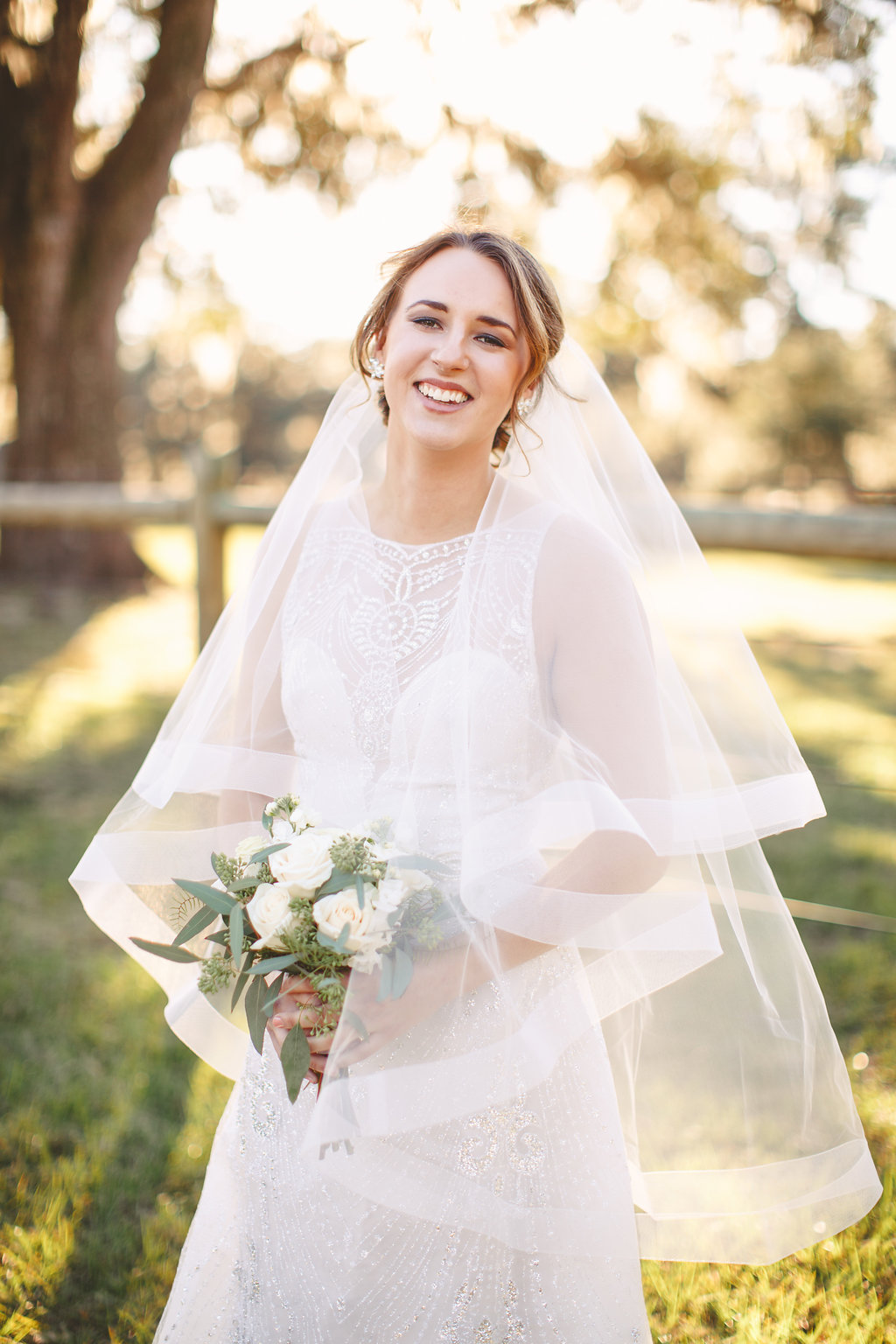 Bride in Tara Keely from Verita Bridal Boutique  //  Charleston, South Carolina wedding dress  //  Bride and her maids at Sugah Cain Plantation in front of white horse and Carriage  //  on A Lowocountry Wedding Magazine & Blog