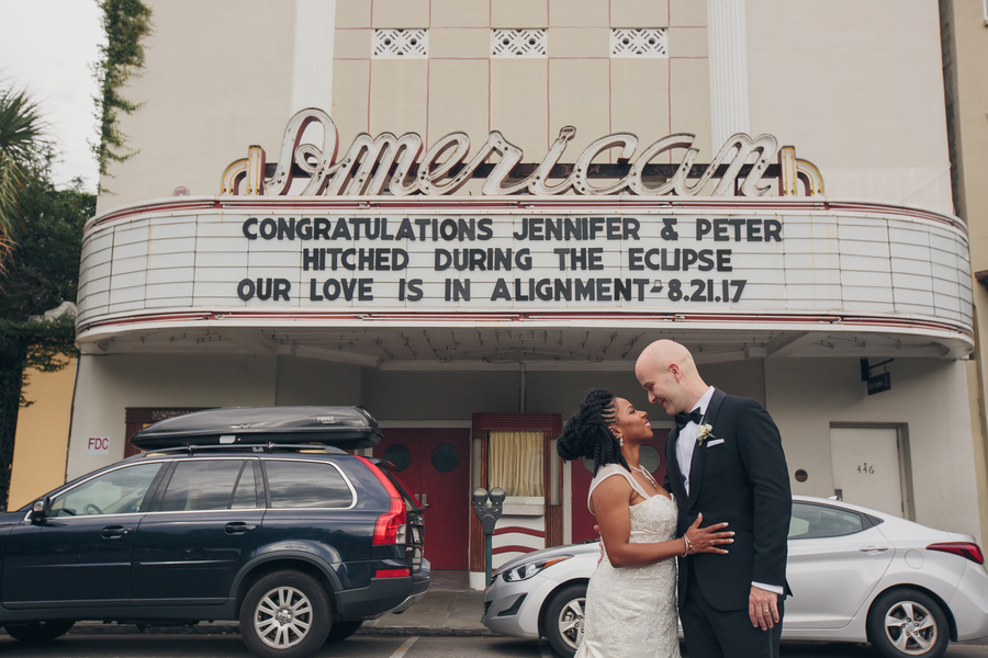 Charleston wedding announcement on the marquee at The American Theater  //  A Lowcountry Wedding Magazine & Blog