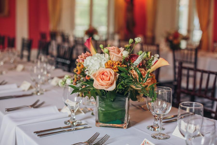 Peach floral centerpieces at The William Aiken House  //  Charleston wedding florist  //  A Lowcountry Wedding Magazine & Blog