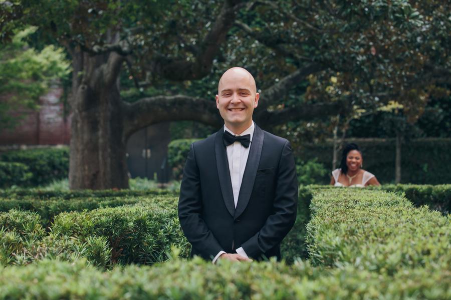Jennifer & Peter's First look at William Aiken House wedding  //  Charleston wedding venue // A Lowcountry Wedding Magazine & Blog