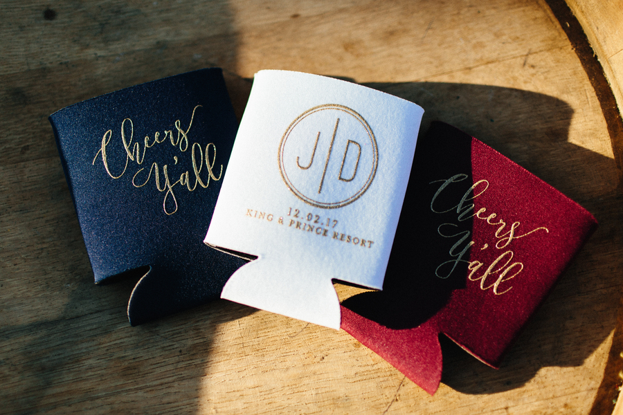 Navy, white and maroon wedding coozies at The King & Prince Resort